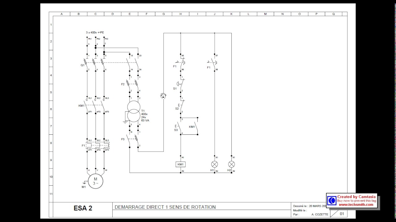 d u00e9marrage direct d u0026 39 un moteur  u00e9lectrique 1 sens de rotation   explication