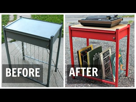 Repurpose a File Cart Into a Vinyl Record Rack / Turntable Stand / DIY