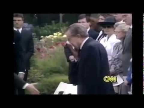 Richard Nixon crying at Pat Nixon's funeral