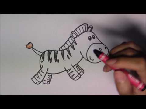วาดรูปการ์ตูนน่ารัก ระบายสี และเรียนรู้ภาษาอังกฤษ Zebra ม้าลาย