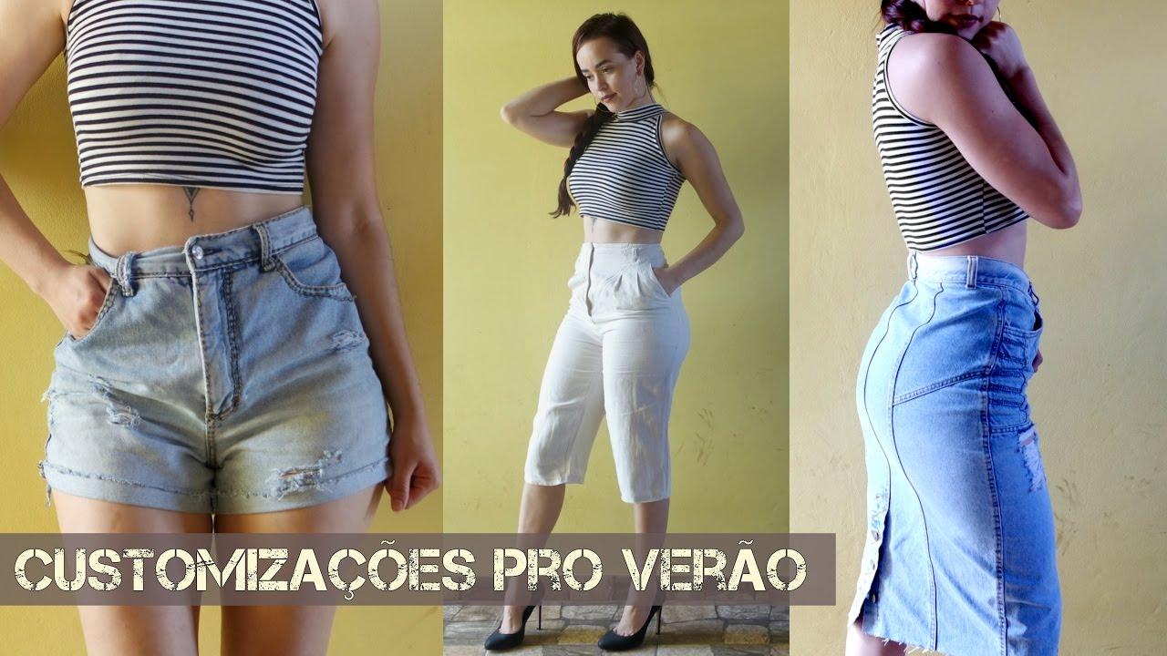 c8a95cbc12 Como fazer Shorts Jeans cintura alta