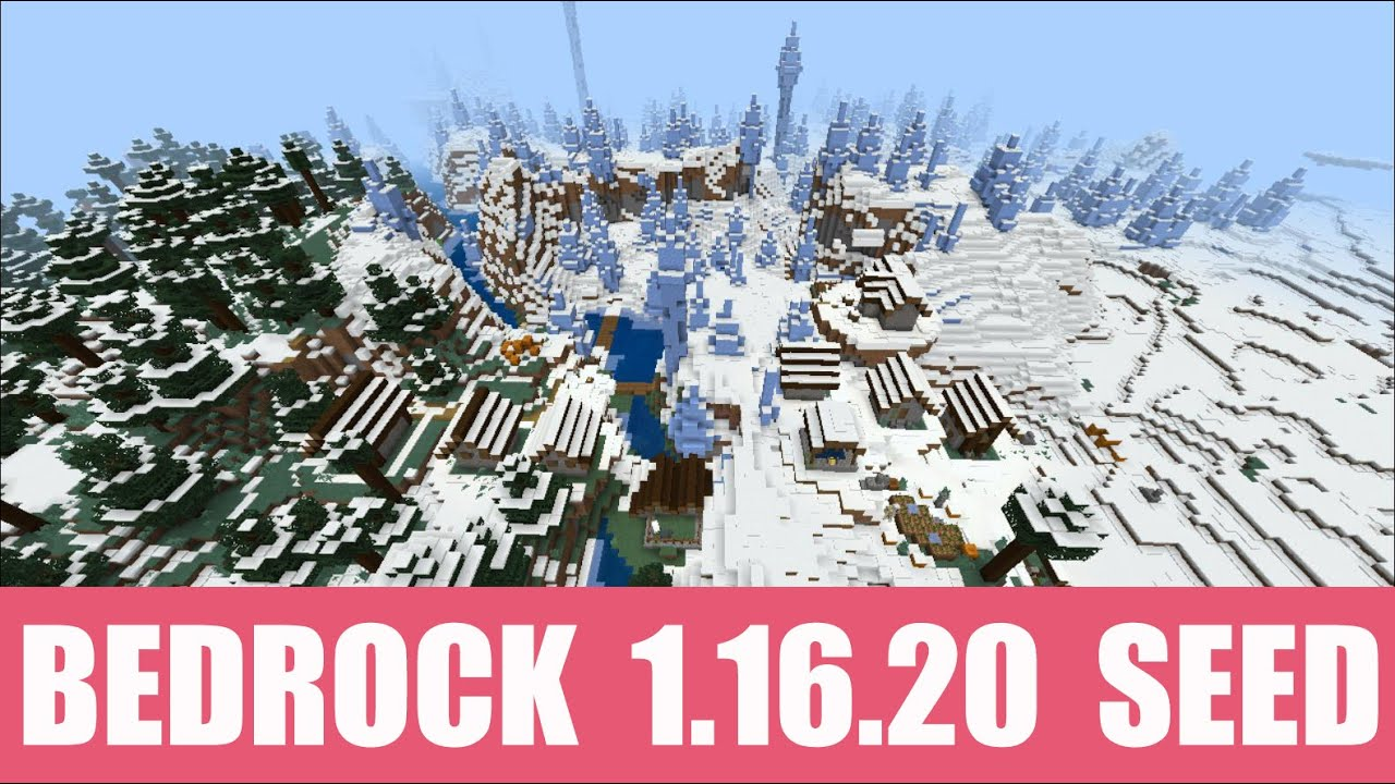Minecraft Bedrock 10.106.10 Seed: Really cool taiga village near spawn + a  snow village with igloo