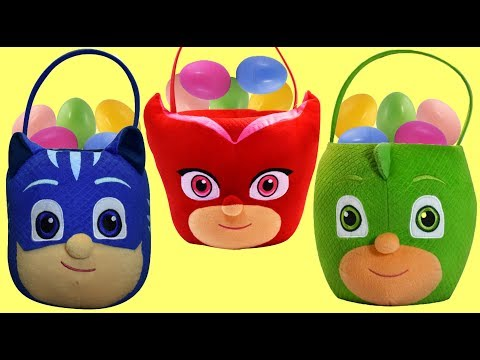 PJ MASKS Easter Baskets FULL of Eggs and Toy Surprises, Owlette Catboy Gekko
