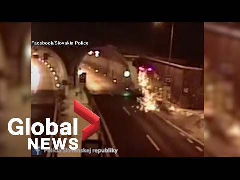 Driver survives spectacular crash in Slovakia tunnel