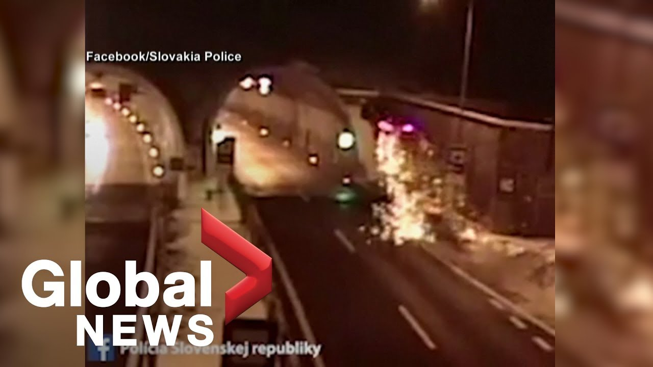 Driver Survives Spectacular Crash In Slovakia Tunnel Youtube