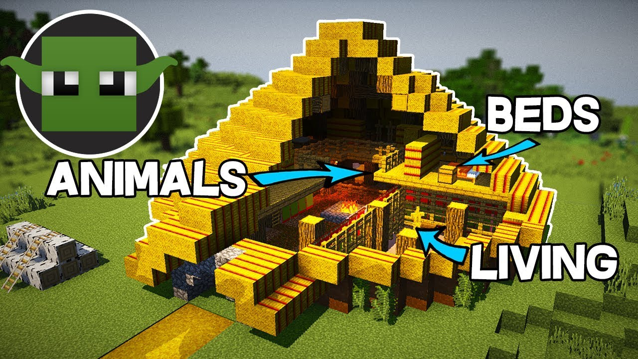 Minecraft Tutorial: Iron Age RoundHouse (How to Build a Survival Base) +  DOWNLOAD