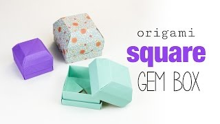 Square Origami Gem Box Tutorial - DIY - Paper Kawaii