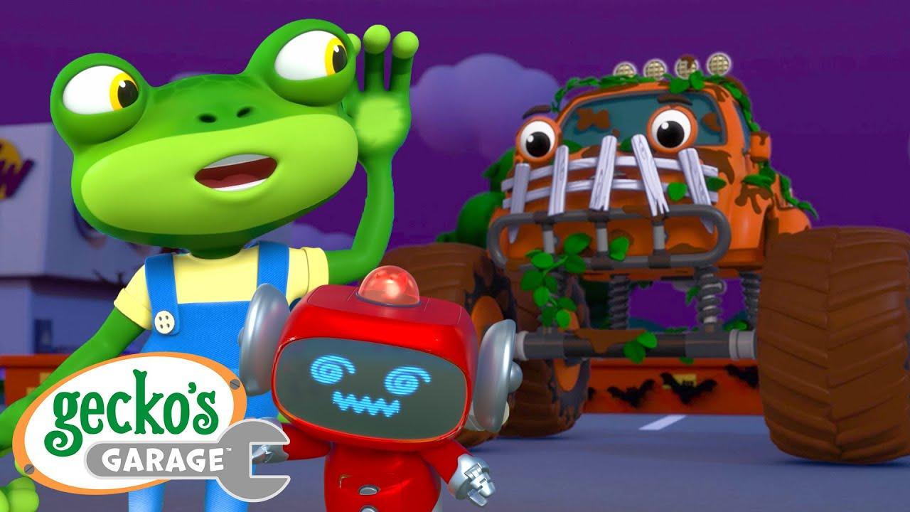 Monster Truck Monster! Gecko's Garage Funny Cartoon For Kids Learning Videos For Toddlers