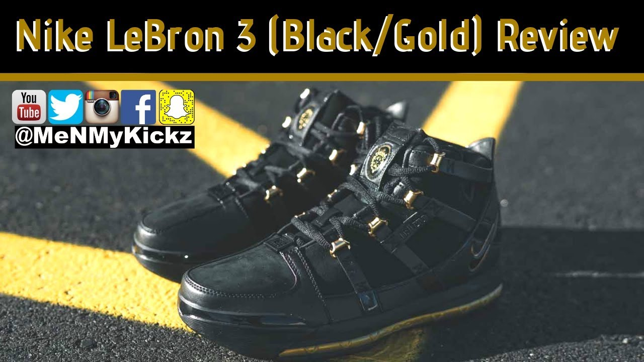 d10a54dad3d Nike LeBron 3 (Black Gold) Retro Review + On Foot · LBJ Bron III · Sizing  Chart Fit Size  lbj3