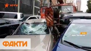 Кран протаранил 21 авто: подробности ДТП на Леси Украинки в Киеве