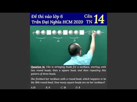 Câu 14 đề thi vào lớp 6 Trần Đại Nghĩa TP HCM năm 2020