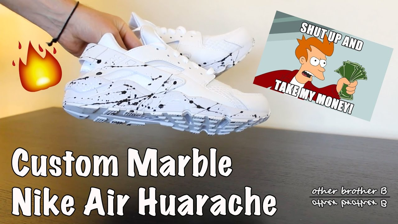 f65399c4946a Custom Nike Air Huarache  Triple White  - Marble   Paint Splash ...