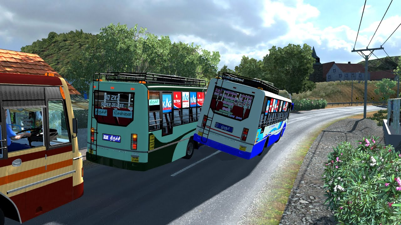 Extreme Bus Race between two old TNSTC Express bus in extreme narrow road | Highspeed chase and race