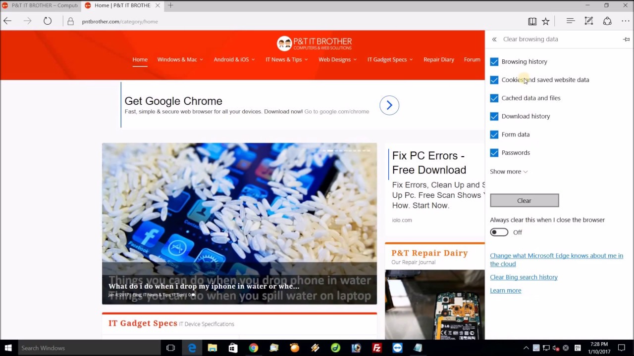 How To Delete History And Cookie On Microsoft Edge Web Browser