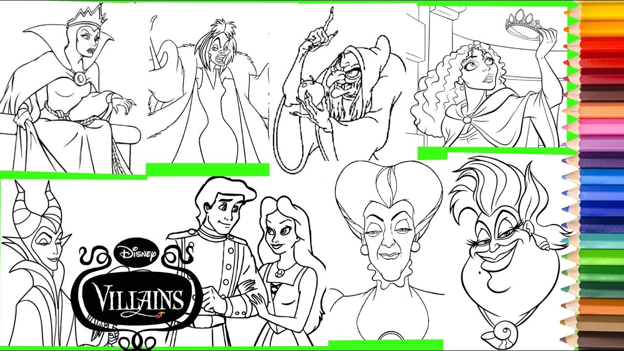 Coloring Disney Villain Ursula Maleficent Evil Queen Mother Gothel Lady Tremaine & MORE