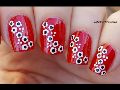 TOOTHPICK NAIL ART #21 - Red Nails With White Flowers - YouTube