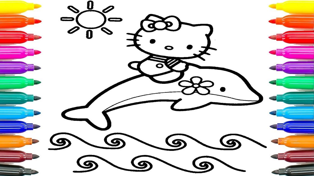 Coloring Pages Hello Kitty Dolphin : How to coloring hello kitty with a dolphin