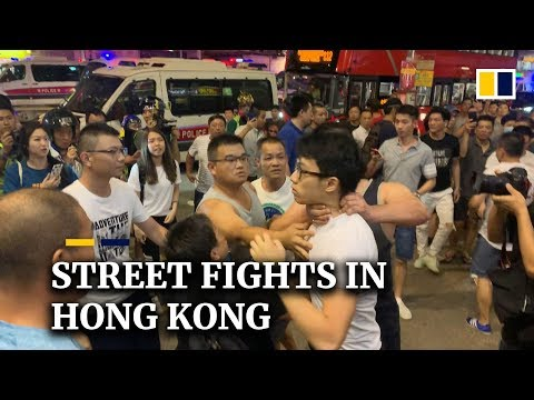 Street fights in Hong Kong