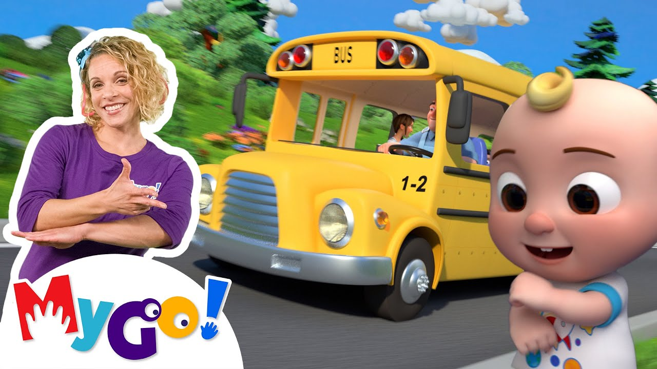 Wheels On The Bus (School Version) | MyGo! Sign Language For Kids | CoComelon - Nursery Rhymes | ASL