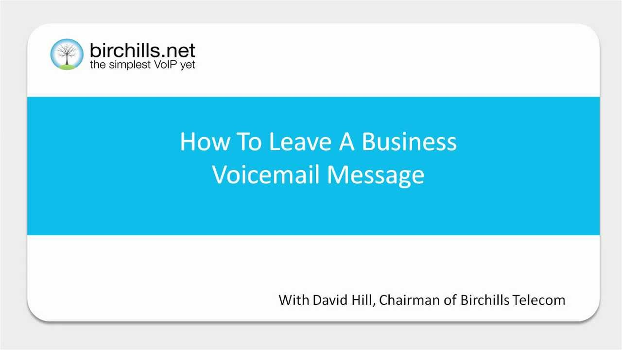How to leave a business voicemail message youtube m4hsunfo