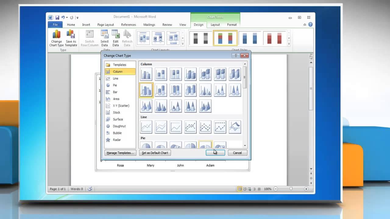 How to make a Column (Vertical Bar) Graph in Microsoft® Word 2010 ...