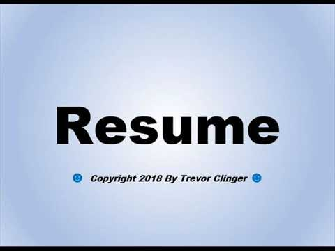 how to pronounce resume as in continue youtube