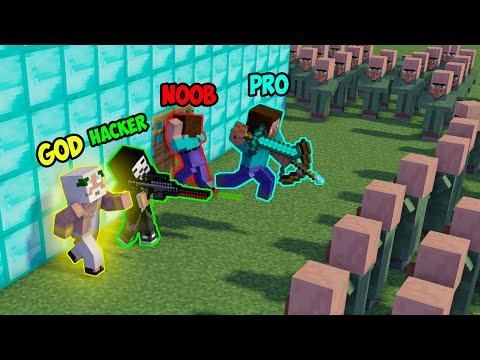 Minecraft NOOB Vs PRO Vs HACKER Vs GOD : VILLAGER APOCALYPSE In Minecraft - Animation