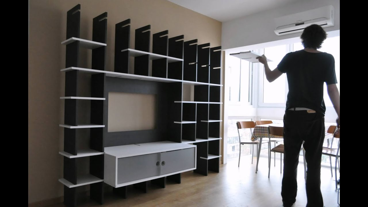 Mueble biblioteca tv youtube for Fabricacion de muebles mdf