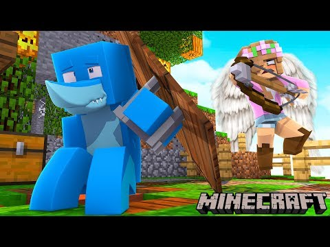 LITTLE KELLY IS THE ANGEL OF DEATH !!! Minecraft w/ Sharky and Little Kelly