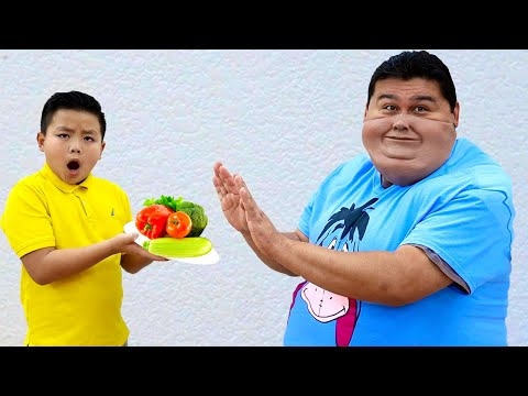 Alex And Eric Pretend Play Preparing Healthy Food For Uncle | Funny Kids Video