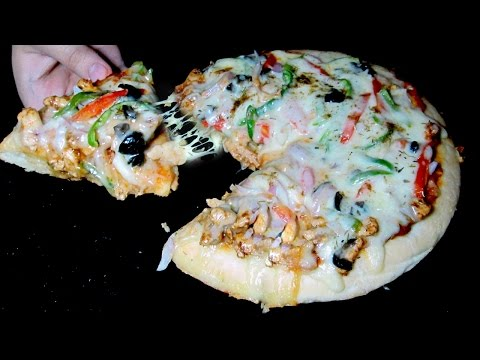 Pizza Without Oven Recipe - Chicken Pan Pizza - Tawa Pizza Recipe