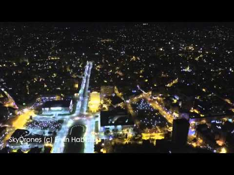 Tirana Albania by Night - Drone Aerial Video