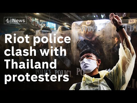 Riot police fire water cannon at pro-democracy protesters in Thailand