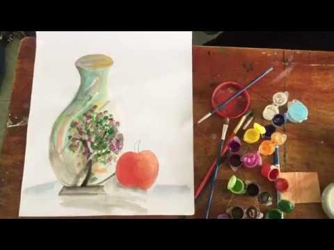 Tranh tĩnh vật – vẽ lọ hoa 2