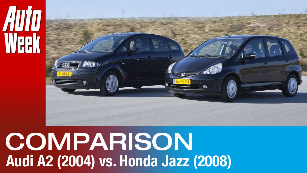 occasion dubbeltest honda jazz 2008 vs audi a2 2004 youtube. Black Bedroom Furniture Sets. Home Design Ideas