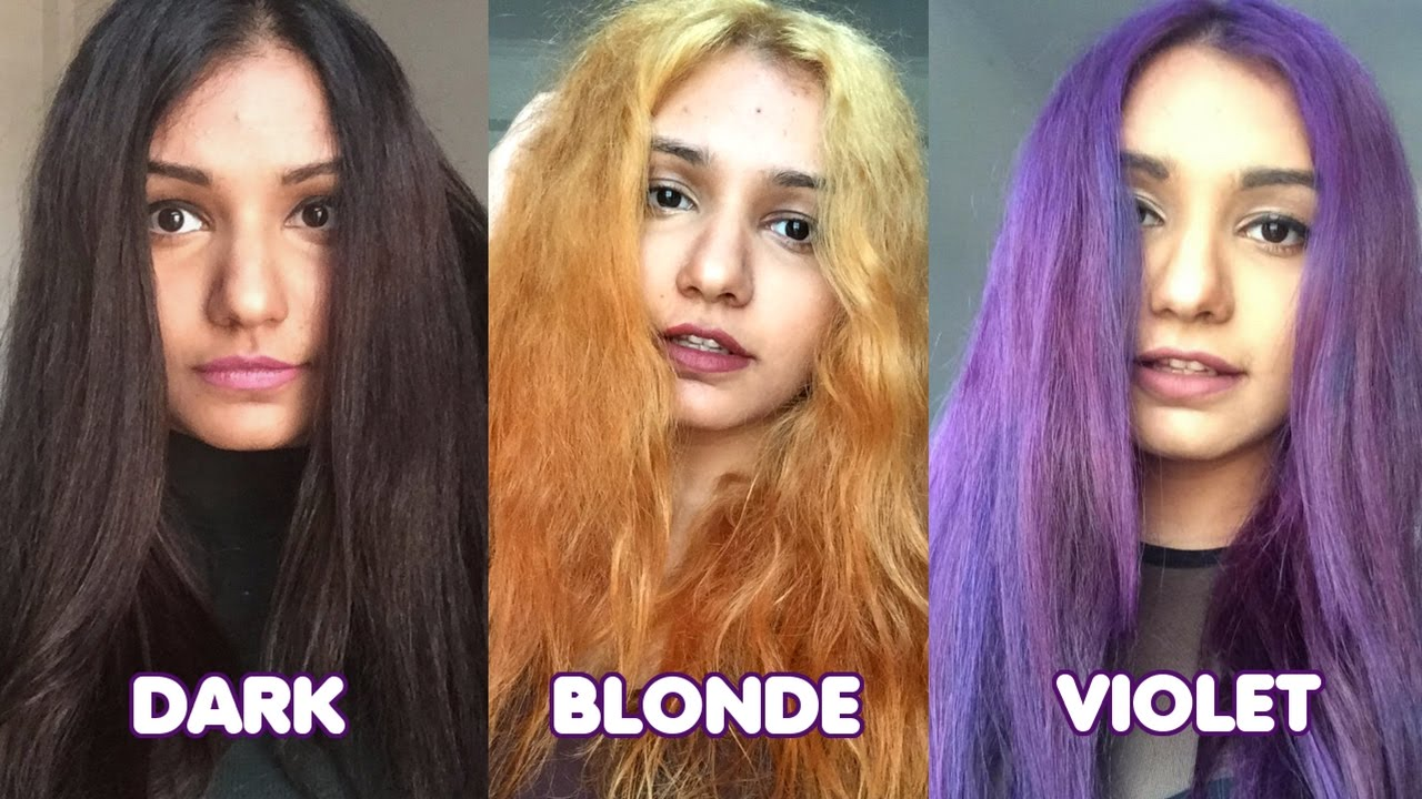 Dark Hair to Blonde to Violet Hair | Manic Panic - YouTube