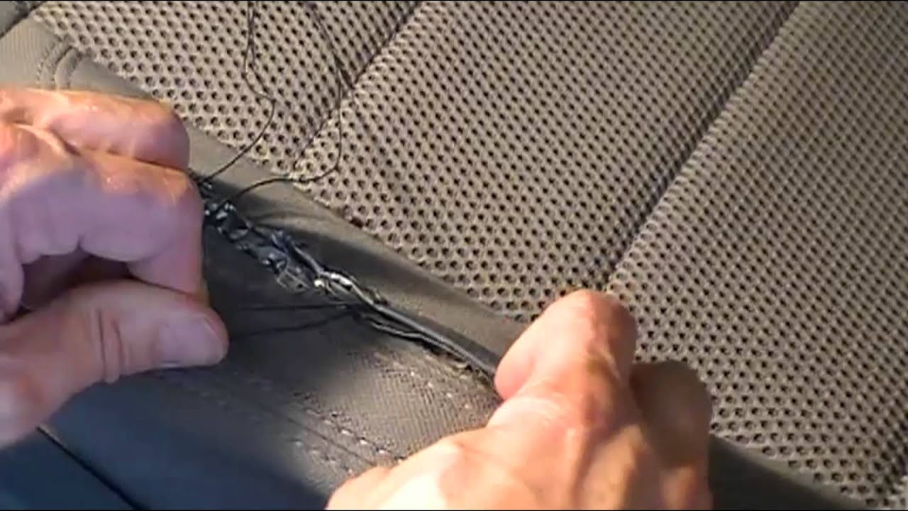 how to repair car upholstery fabric a really rough repair of torn car seat fabric youtube auto. Black Bedroom Furniture Sets. Home Design Ideas