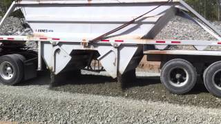Spreading Gravel with Belly Dump Trailer