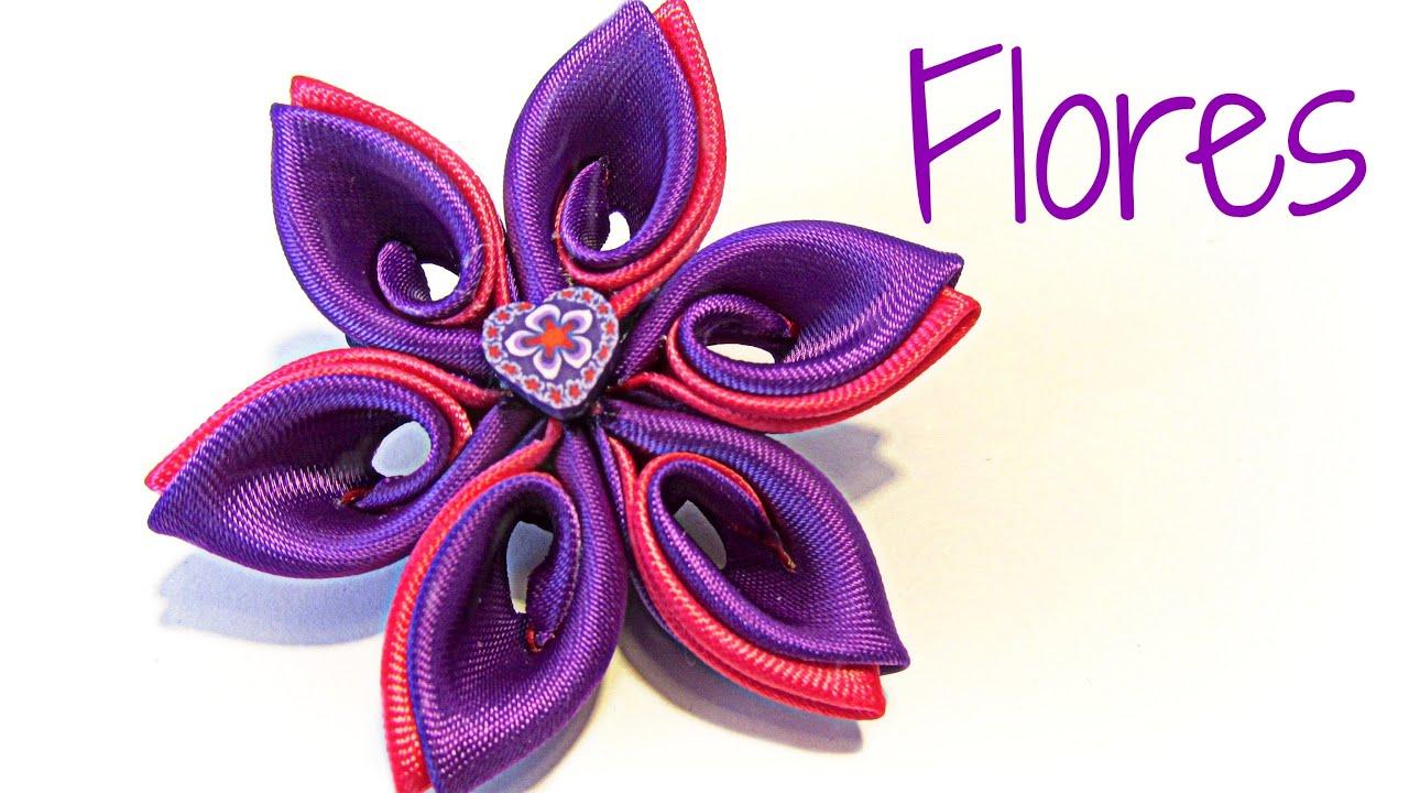 Como hacer flores kanzashi de p talo doble youtube - Como hacer flores ...
