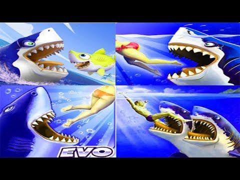 Hungry Shark World Vs Hungry Shark Heroes Vs Hungry Shark Evolution VS Double Head Shark Attack 2019
