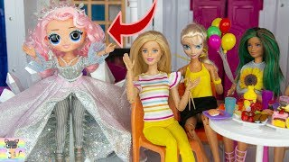 OMG LOL Winter Disco Crystal Doll Weekend Vacation at Barbie Dreamhouse Dinner with Frozen Elsa Anna