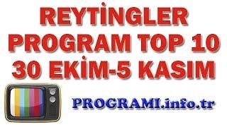 En Çok İzlenen Programlar - 30 Ekim-5 Kasım 2017 Reyting Sonuçları, Haftalık Program Reytingleri