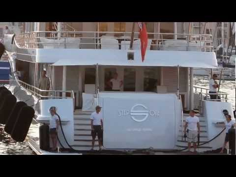 Superyacht Step One entering Port de Cannes - Nicholas Woodman yacht?