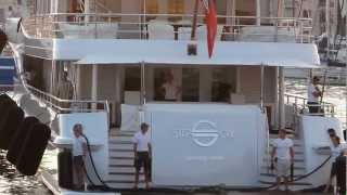 Superyacht Step One entering Port de Cannes - Nicholas Woodman yacht?