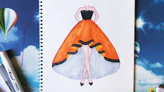 How to draw a Dress - Vẽ đầm dạ hội - An Pi TV Coloring