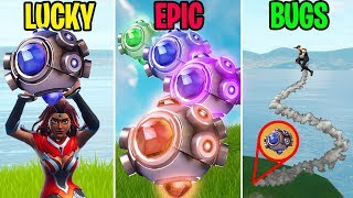 EXPLOSÕES DE GRANADAS SHOCKWAVE NOOB FORA DO MAPA! LUCKY vs EPIC vs BUGS-momentos engraçados Fortnite