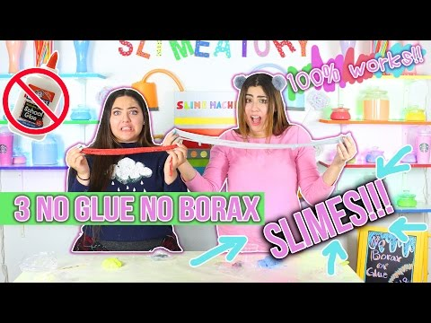3 NO GLUE NO BORAX SLIME RECIPES!! 100% WORK | Slimeatory #18