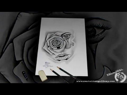ZEN TATTOO - Chicano rose pencil drawing by Blaze
