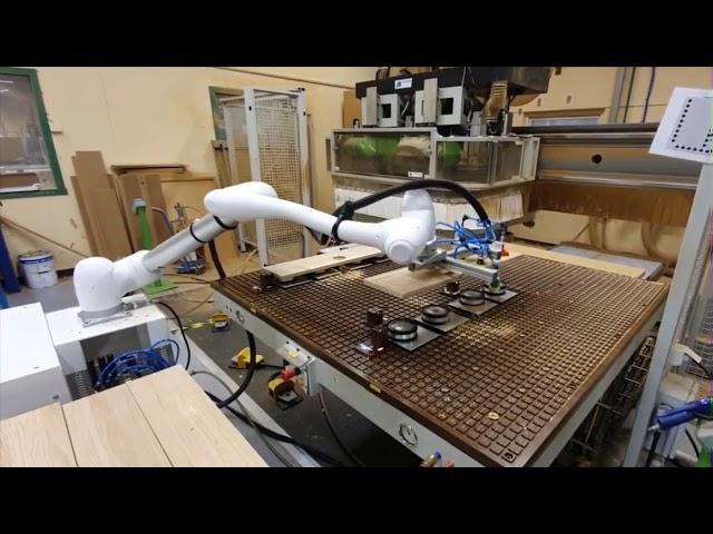 Pallettizzatore e asservimento macchina utensile per lavorazione legno - Homberger Spa