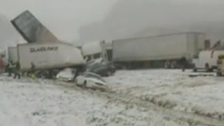 50-vehicle chain reaction crash caused by snow and icy roads
